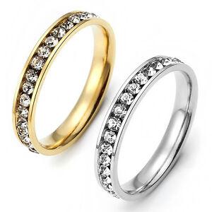Damen Ring Edelstahl mit Strass Ringe Fingerringe Modeschmuck Silber  Golden  eBay