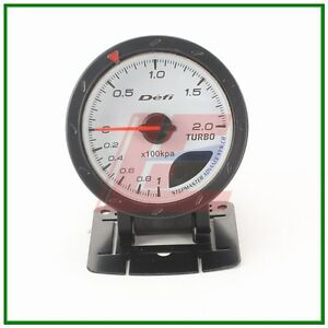 60mm def advanced turbo boost gauge Amber red/ white lights white face auto met | eBay