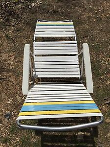 chaise lawn chair step stool canada vintage non woven strap lounge folding aluminum ebay image is loading