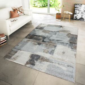 Webteppich Wohnzimmer Interior Abstraktes Design Hochwertig Beige Creme Grau  eBay