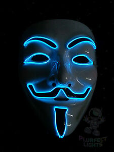 Neon Blue Guy Fawkes Vendetta Anonymous Dj Rave Party
