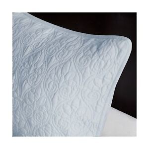details about two madison park quebec king pillow shams dusty pale blue quilted new