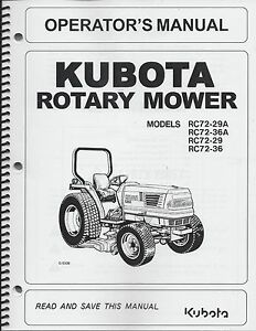 Kubota RC72-29A, RC72-36A Operator's Manual, Rotary Mower