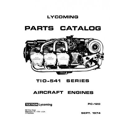 Lycoming TIO-541 Series Aircraft Engine Parts Catalog Part