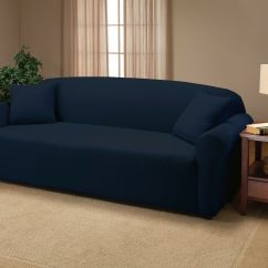 Blue Recliner Chair Covers Herman Miller Shell Navy Jersey Couch Stretch Slipcover Furniture