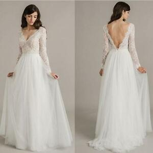 Vintage Western Country Ivory Lace Wedding Dresses Bohemian Long Sleeve  eBay