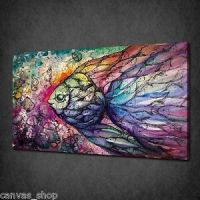FISH COLLAGE MODERN COLOURFUL WALL ART CANVAS PRINT ...