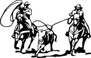 team roping rodeo horse calf mustang team VINYL DECAL