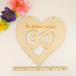 Goldene Hochzeit Geschenkidee Herz aus Holz 50 Jahre Brautpaar Geschenk  eBay