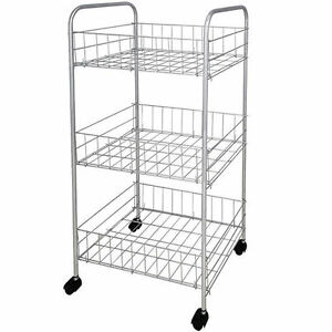 metal kitchen rack small table set 3 tier storage trolley vegetable fruit cart drawer stock photo