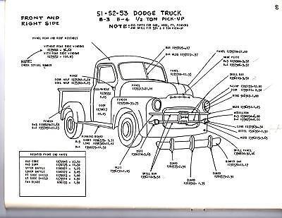 1948 1949 1950 DODGE TRUCK 1/2 3/4 1 TON EXTERIOR BODY