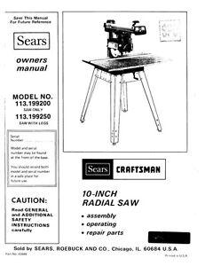 1984 Craftsman 113.199200 or 113.199250 10