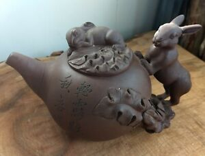 Vintage Handmade Lao Zi Ni YIXING Rabbit Clay Tea Pot