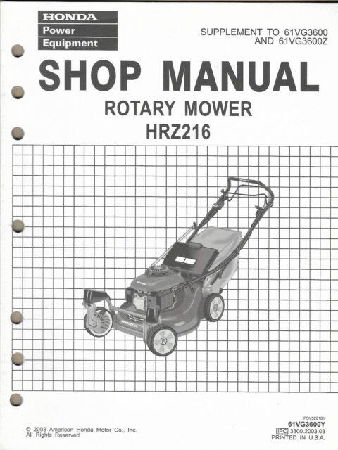 HONDA POWER EQUIPMENT ROTARY MOWER HRZ216 Supplement