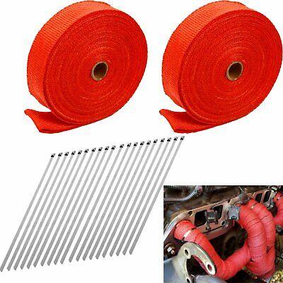 2 roll x 2 50ft red exhaust wrap manifold header fiberglass heat wrap tape ebay