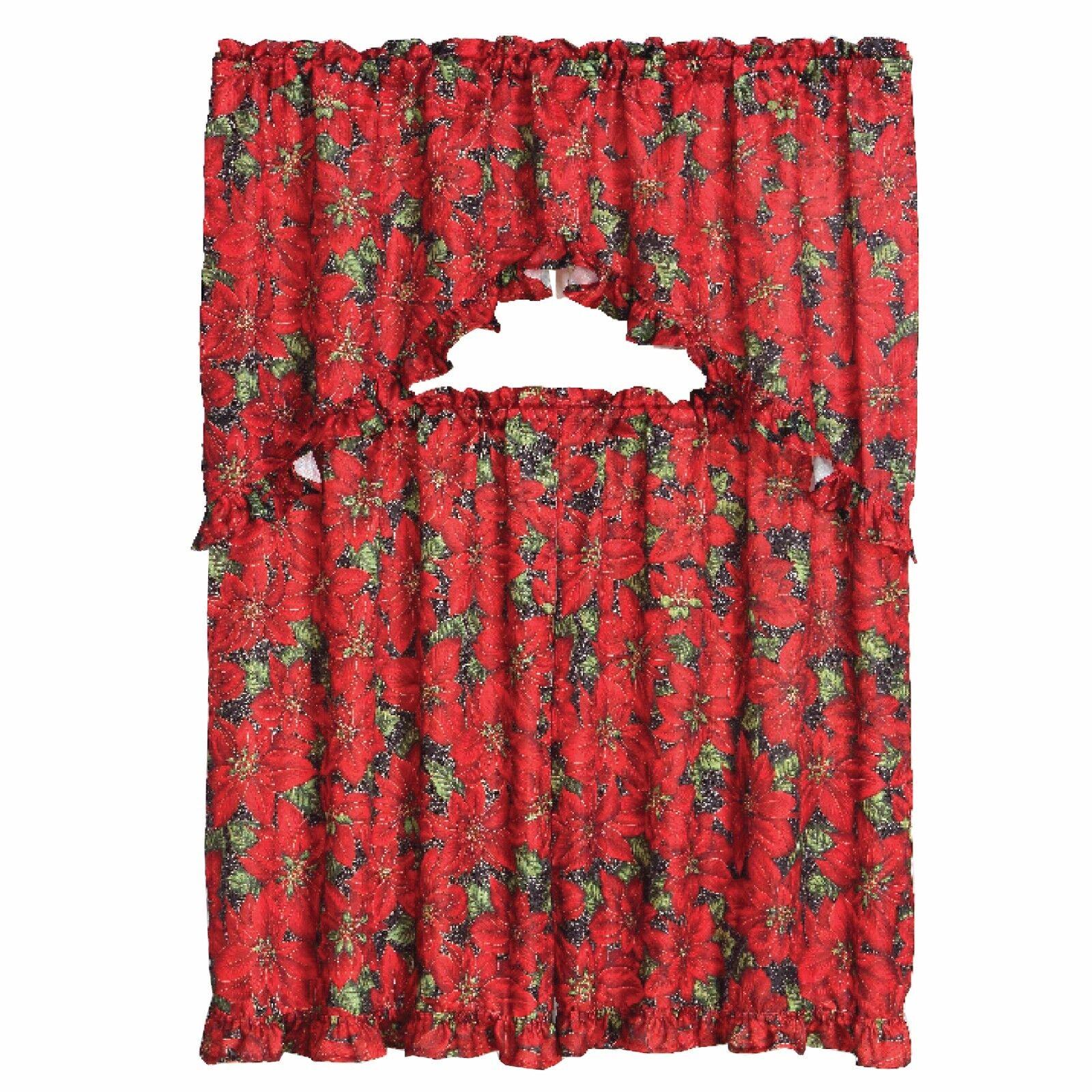 3 Piece Christmas Decorative Kitchen Curtain Set Ruffled