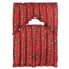 Kitchen Curtain Sets Remodeling On A Budget 3 Piece Christmas Decorative Set, Ruffled ...