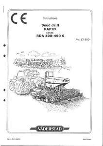 VADERSTAD SEED DRILL RAPID SERIES RDA400S RDA450S