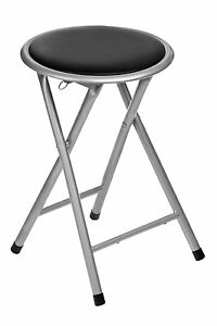 folding chair round drop leaf table with storage stool seat in black soft padded foldable kitchen image is loading