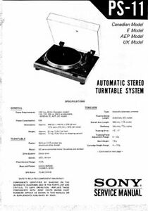 SONY PS-11 SERVICE MANUAL BOOK IN ENGLISH AUTOMATIC STEREO