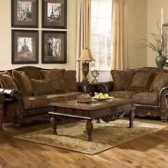 Leather And Fabric Sofa In Same Room Upholster Mauricio Old World Bonded Couch Set Living Image Is Loading Amp