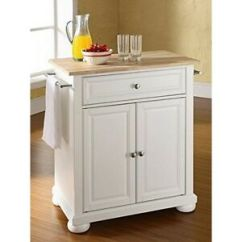 Crosley Kitchen Cart Ikea Doors Furniture Alexandria Natural Wood Top Island White Image Is Loading