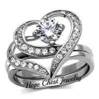 STAINLESS STEEL HEART SHAPED CZ ENGAGEMENT RING & WEDDING ...