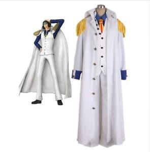 Hecho a medida una pieza Aokiji vicealmirante Navy Admiral uniforme Cosplay Disfraz GG.1590