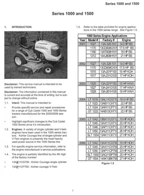 Cub Cadet 1000 1500 Series SERVICE MANUAL LT1042 1045 1046