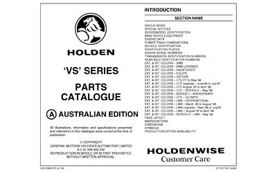 VS Commodore & HSV Spare Parts Catalogue Info Sheets