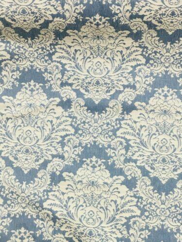 stoffe br024 damask patterned curtain fabric material new denim blue and cream bastel kunstlerbedarf callvet com br