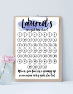 Custom weight loss countdown chart print  pdf included also personalised goal tracker  rh ebay