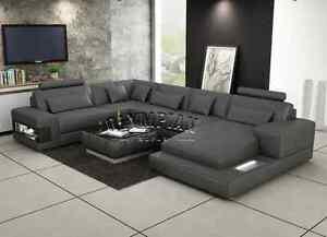 u sofa outdoor clearance modern large leather corner suite new grey shape modular ebay image is loading