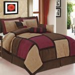 7 Pcs Burgundy Brown Beige Micro Suede Patchwork Queen Size Comforter Set For Sale Online