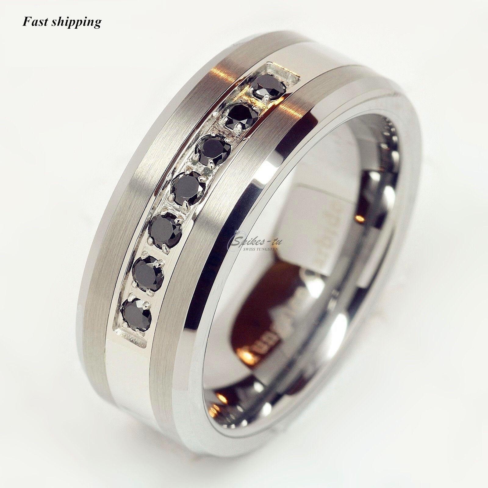 luxury best Tungsten Ring Black Diamonds Mens Wedding Band Brushed size 613  eBay