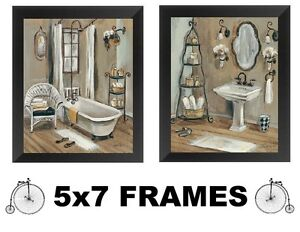 Victorian Pictures Bathroom Tub Sink Paris Style 5x7 Wall Hangings Old Look Ebay