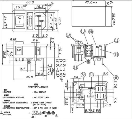 Business & Industrial 4P Switch JR-101-1FRS t= 1mm JEC