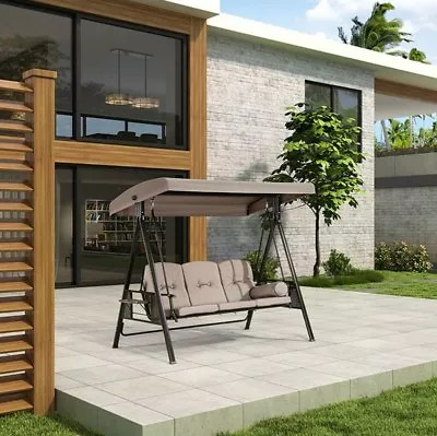hanging chair outdoor australia glam dining chairs new 3 seat swing canopy roof patio bed