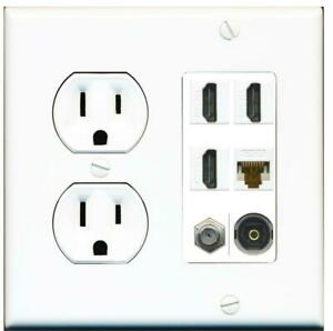 15A Round Power Outlet 3 Port HDMI 1 Cat6 Coax Cable TV
