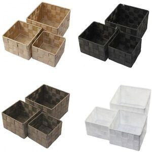 Aufbewahrungsbox 3er Set QUADRATISCH geflochten Korb Box Badezimmer Kiste Regal  eBay