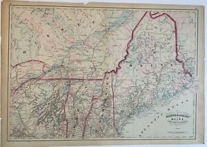 Situated between three other states, vermont shares a border with quebec, canada, in the north as well.with new hampshire to the east, and new york to the west, vermont shares its southern border with the state of massachusetts.called the green mountain state, vermont is. Online Wholesale Store Original 1872 Map Maine Quebec Vermont New Hampshire Me Nh Vt Old Antique Ny Qc Shop Authentic Asbm Com Br