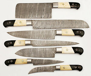 damascus kitchen knives layout designer set custom made blade 7 pc s mh 0181 bh image is loading