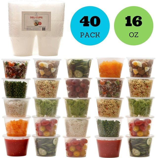 16oz Plastic Food Storage Containers with Lids, Restaurant Deli Cups (Set of 40) 2