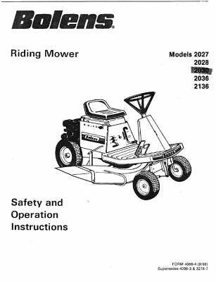 BOLENS 2027 2028 2030 2036 2136 Op Maintenance MANUAL PDF