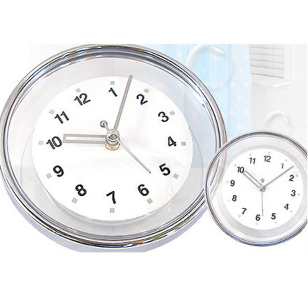 Chrome Bathroom Wall Clock Suction Watch Kitchen Shower