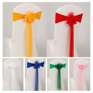 diy organza chair covers material to cover dining room chairs sashes fuller bow wedding party reception image is loading