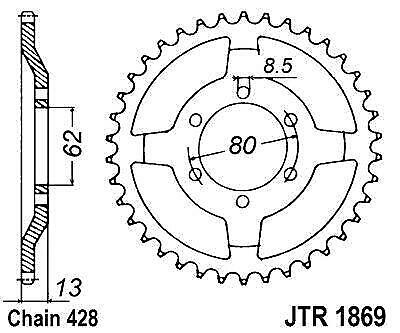 JT 45t Rear Sprocket 428 for Yamaha Tt225 1986-1987 for