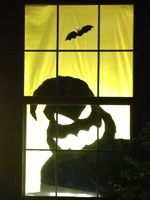 Halloween Window Silhouette Scary Monster 60 X 42 Holiday Decorations Ebay