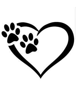 Download PAW HEART DOGS VINYL DECAL car bumper sticker laptop pet ...