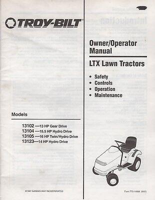 1998 TROY-BILT LTX LAWN TRACTORS OWNER'S/OPERATOR MANUAL